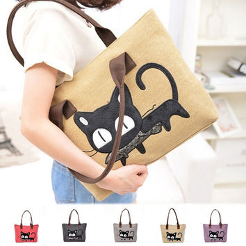 Cartoon Cat Women Cute Casual Lady Canvas Handbag Tote Shoulder Messenger Bag = 1705985732