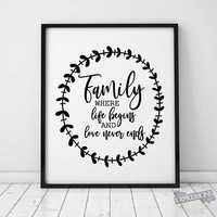 Family Printable SVG Vector Quote, Die-Cut Saying, Printable Vector Artwork, Family Love Sign Quote, Silhouette Stencil Design for Craft