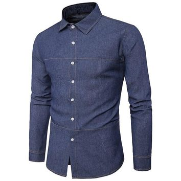 Mens Button up denim style slim fit long sleeve dress shirt. no pockets