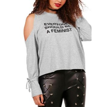 everyone should be a feminist Plus size shirt Women Tops gray Grey Long sleeve T-shirt Tees black cold shoulder