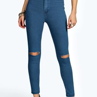 Petite Lexi High Waisted Slit Knee Skinny Jean
