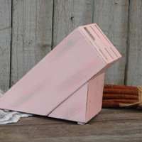 Knife Block, Upcycled, Shabby Chic, Hand Painted, Pink, Kitchen Decor