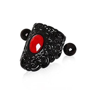 Gothic Black & Red Lace WildKlass Cartilage Ear Cuff Earring