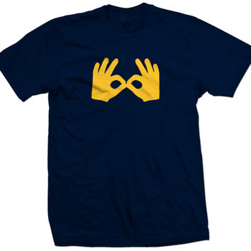 University of Michigan Nik Stauskas Three 3 Goggles Basketball T Shirt L@@K