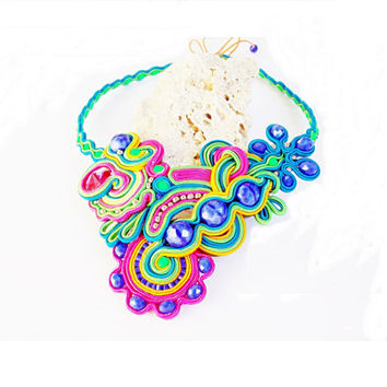 Soutache jewelry.Soutache necklace.OOAK.Handmade Jewelry. Colorful soutache necklace, beaded jewelry, handmade, unique gift