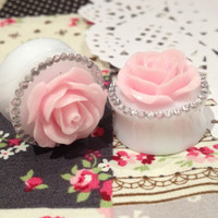 "Handmade 20mm (13/16"") Pink Rose & Rhinestone Plugs"