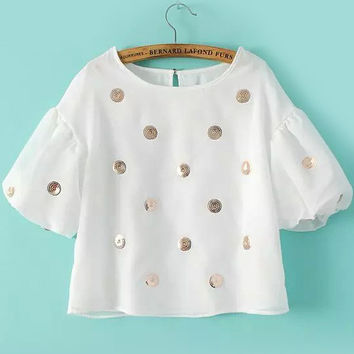 White Ruffle Sleeve Sequined Organza Crop Top