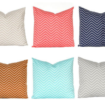 Chevron Pillow Covers - Decorative Pillow Covers - Chevron Throw Pillow Covers - Gray, Tan, Aqua, Coral, Caramel and Navy Blue Euro Sham