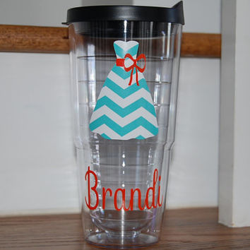 Chevron dress Personalized tervis style tumbler 24 oz insulated BPA free double walled Monogrammed for you