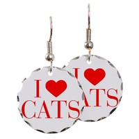 I LOVE CATS-BAU RED 500 EARRING