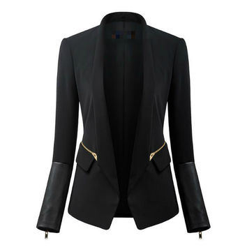 Winter Women's Fashion Black Casual Zippers Suits [6512933831]