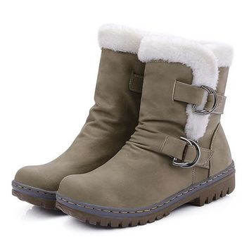Flat Heels Winter  Warm Fur Boot Mid-Calf Spring Autumn