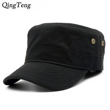 Trendy Winter Jacket Men Baseball Caps Skull Embroidered Logo Flat Top Hats Cotton Snapback Flat Cap Army Cadet Hat Women Gorros Hombre Hip Hop AT_92_12