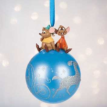 Jaq and Gus on Glass Ball Sketchbook Ornament - Cinderella - Personalizable | Disney Store