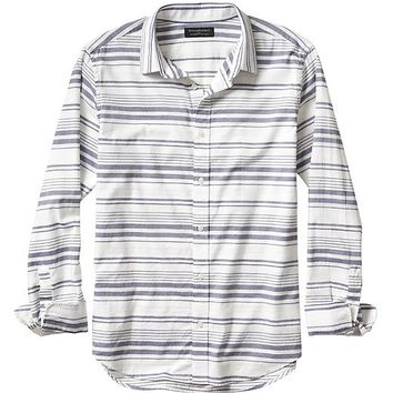 Banana Republic Mens Factory Soft Wash Horizontal Stripe Shirt