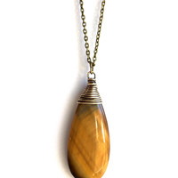 Long Tiger's Eye Necklace, Wire Wrapped Large Natural Stone, Antique Brass Chain Jewelry