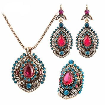 Antique Gold Plated Pink Tourmaline Crystal Turkish Jewelry Set (Necklace, Ring & Earrings)