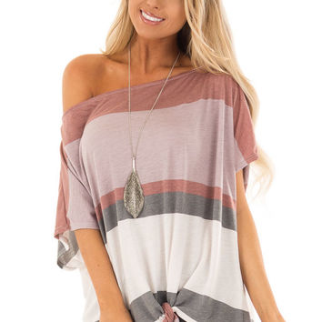 Multicolor Striped Off Shoulder Top with Tie Detail