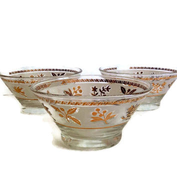 Mid Century Starlyte Bowls Gold Leaves Frosted Band Condiment Bowls Set of 3 Vintage Kitchen Home Decor Dessert