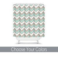 CUSTOM You Choose Colors Aqua Beige Tan Chevron Bathroom Bath Shower Curtain Polyester Made in the USA