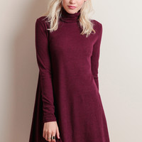 Stockholm Turtleneck Dress In Burgundy
