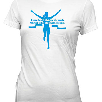 I Can Do All Things Through Christ Marathon Race Christian T-Shirt for Juniors