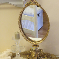 Ornate Gold Vanity Mirror on Base Stand, Hollywood Regency, Shabby Chic Mirror