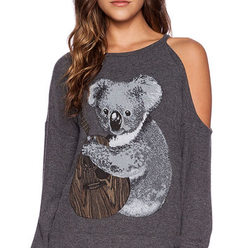 Lauren Moshi Quinn Koala One Shoulder Open Pullover in Charcoal