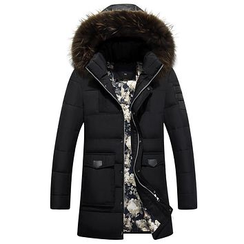 Winter Long Men Down Jacket Men Thick Warm Fur Collar Hooded Men Jackets And Coats Winter