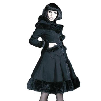 Devil Fashion Gothic Lolita Hooded Wool Coat Women Winter Red Cute Dolly Long Cloak Woolen Jackets With Hat Long Sleeve Coats