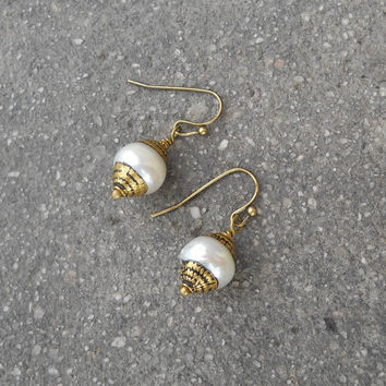 Pure, Genuine Freshwater Tibetan Capped Pearl Earrings