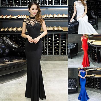 Summer Formal Gowns Mermaid Long Women of the Bride Dresses 2017 High Neck Lady of the Groom Dresses Wedding Party Prom Gown
