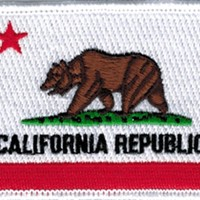 California flag patch, 2.5 x 3.5 Iron On Embroidered Patch