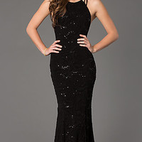 Dresses, Formal, Prom Dresses, Evening Wear: Floor Length Sleeveless Sequin Embellished Dress