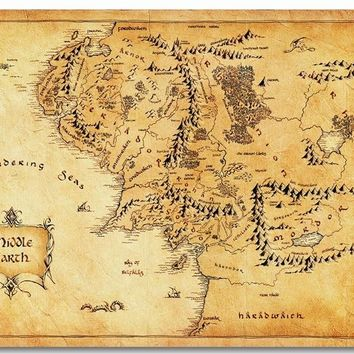 Custom Canvas Wall Decorations World Map Of Middle Earth Poster The Lord Of The Rings Map Wallpaper Office Stickers Mural #0357#