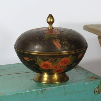 Brass Hand Painted Enamel Lidded Footed Bowl . Made In India . Pink & Red Roses Black Background, Green Leaves . Global Boho Decor