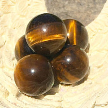 Tigers Eye Sphere/Ball (16-18MM) ONE w/ FREE Affirmation Card/Bag with Healing Energy Infused. Crystal Magic. Natural Crystal Tiger Eye
