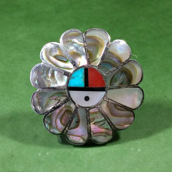 Southwestern Vintage Zuni Sun Face Abalone Native American Sterling Silver Ring Size 6 Signed A. Gasper Shell Coral Turquoise MOP Black Onyx