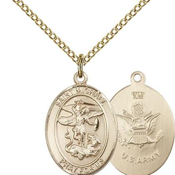 14K Gold Filled St Michael Army Military Soldier Catholic Medal Necklace 617759846676