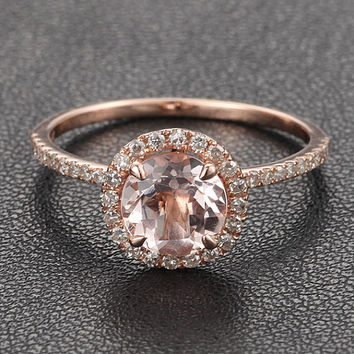 7mm aquamarine/morganite/peridot/topaz/amethyst/garnet/Moissanite Diamond 14K Rose Gold Engagement Ring