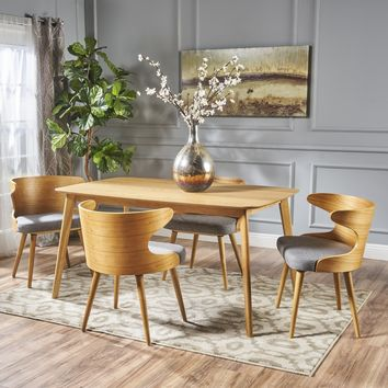 Brianne Mid Century 5 Piece Wood Dining Set with Fabric Chairs