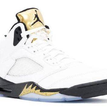 PEAPN Ready Stock Nike Air Jordan 5 Retro Olympic Gold Basketball Sport Shoes