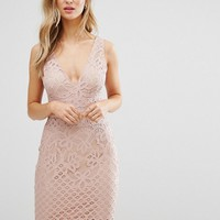New Look Plunge Lace Bodycon Midi Dress at asos.com