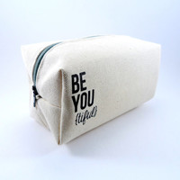 Be You Tiful Canvas Makeup Bag, Gadget Case, Under 15, Pencil Case, Medium, Zippered, Cosmetic Case, For Her