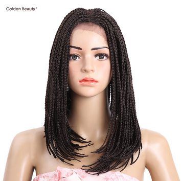 6-16inch Ombre Bob Synthetic Lace Front Wig with Baby hair Colored Braided Box Braids wigs for African American Golden Beauty