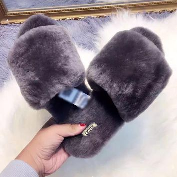 UGG Sheep fur one word drag the new autumn/winter slippers Grey