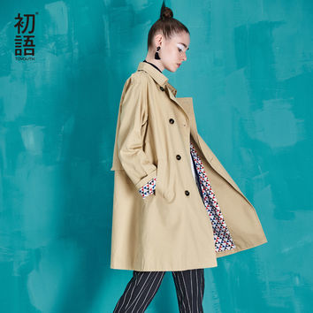 Toyouth 2017 Autumn New Arrival Trench Coat Women Double-Breasted Turn-Down Collar Medium Style Long Cotton Outwears