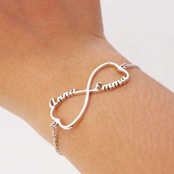 Name Bracelet Femme Personalized Infinity Heart Name Bracelet Custom Jewelry Silver Color Stainless Steel Pulseira Masculina