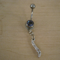Belly Button Ring - Body Jewelry - Silver Faux Diamond Dangle with Lt. Purple Gem Stones Belly Button Ring