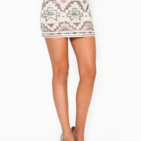 tribal-sequined-mini-skirt CREAM NAVY - GoJane.com